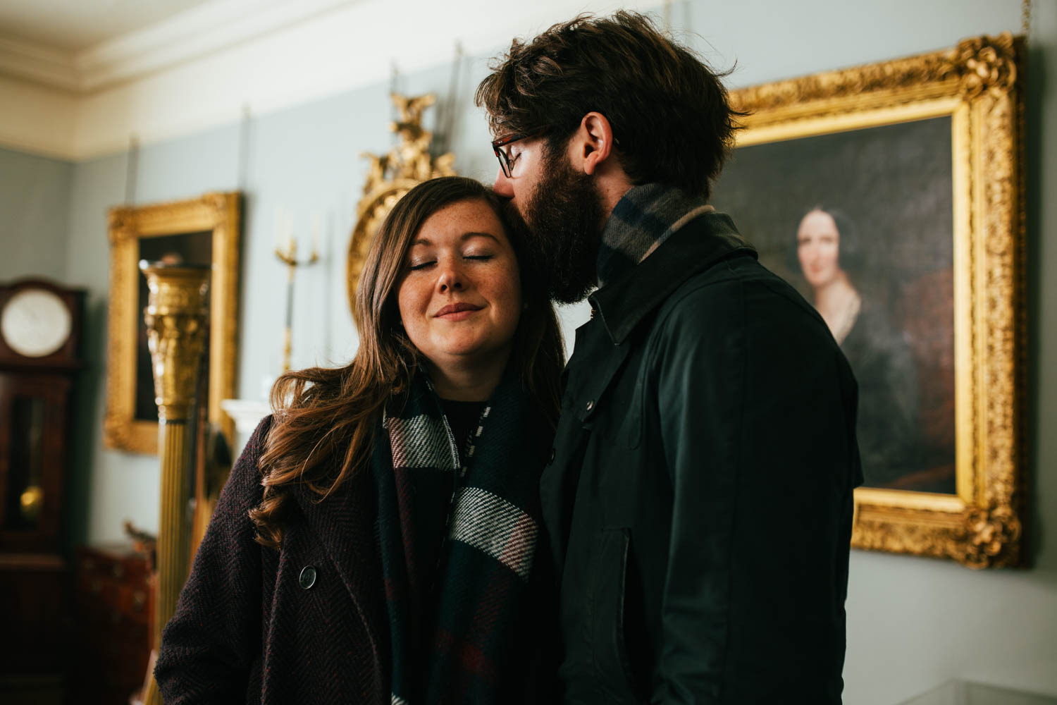 indoor couples engagement shoot at christchurch mansion in ipswich