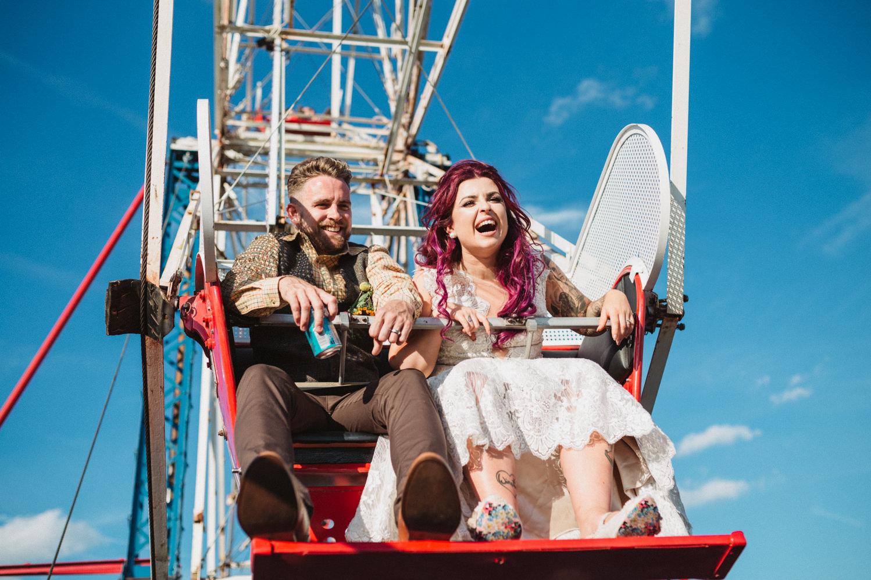 relaxed festival godwick barn wedding photography helen anderson ferris wheel