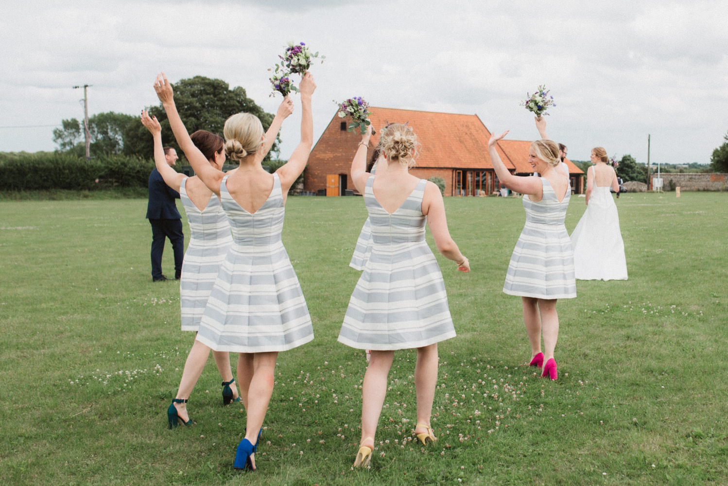 bridesmaids at a relaxed village hall in binham, norfolk