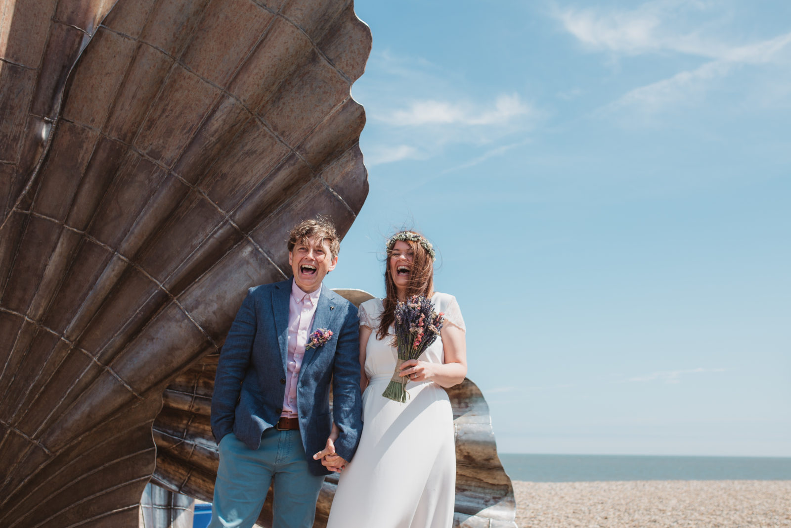 beach wedding couple in thorniness