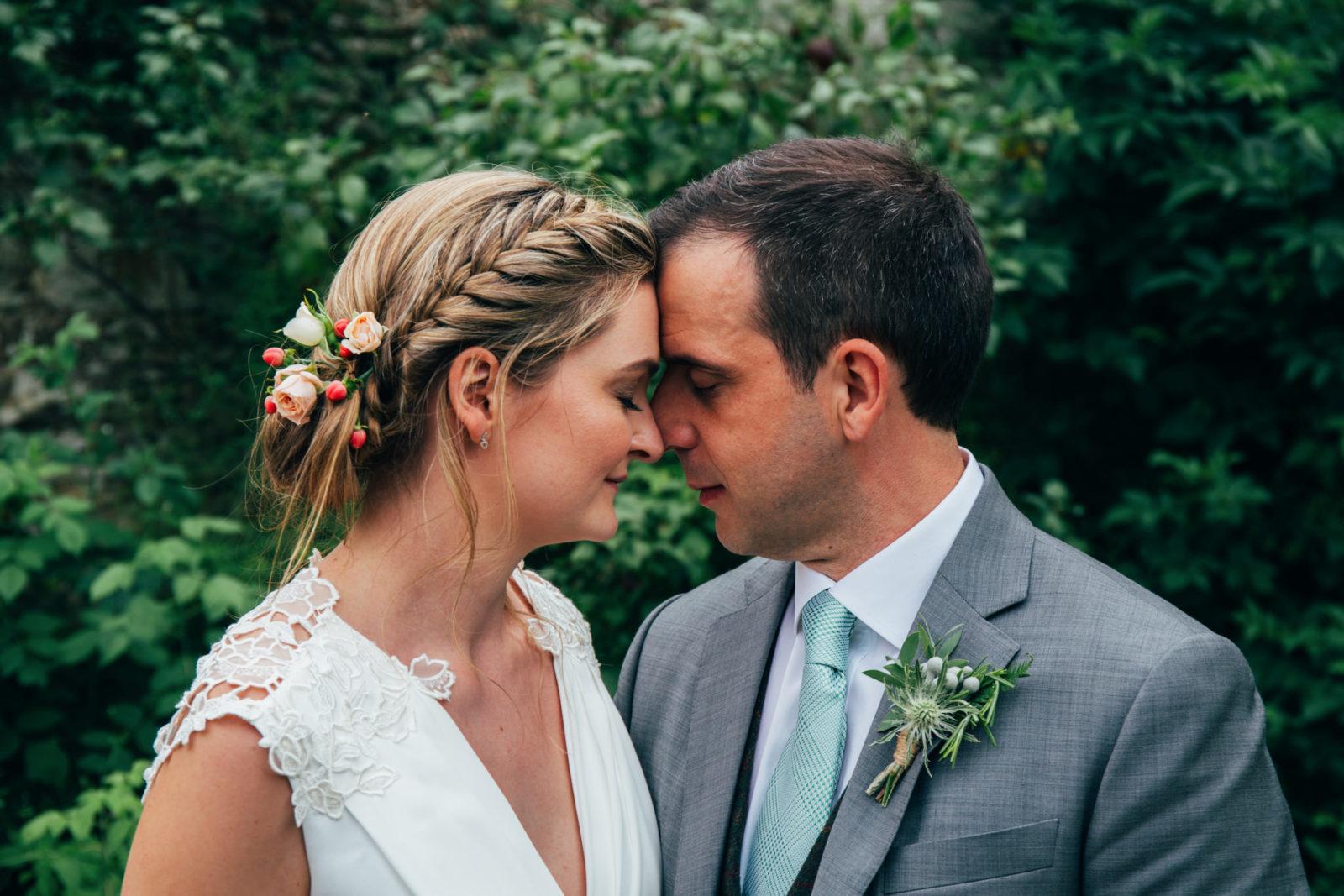 bride and groom portrait at unique suffolk wedding venue wilderness