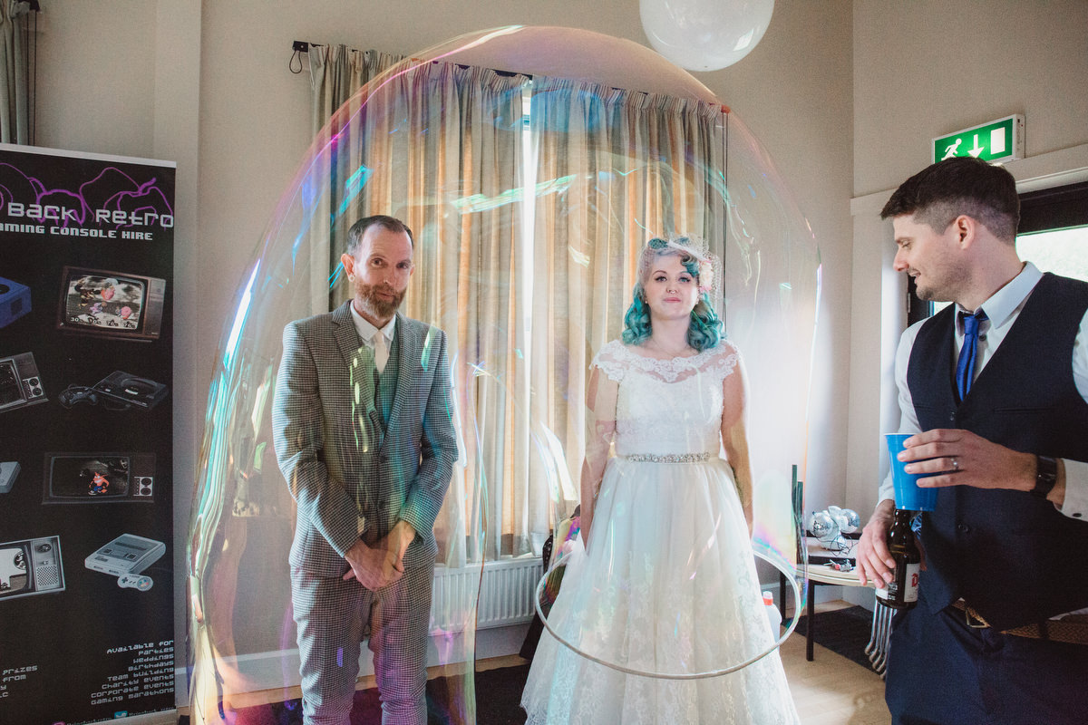 newlyweds in a giant bubble