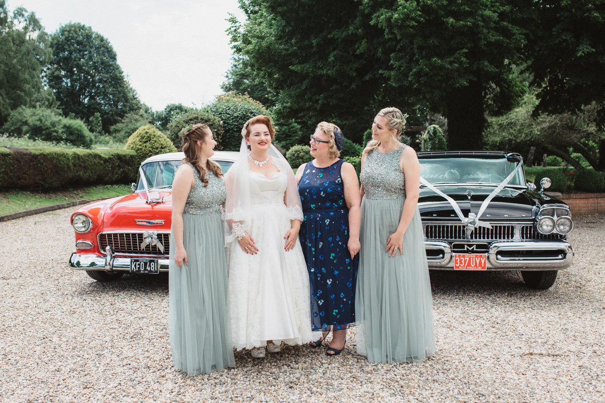 bride and bridesmaids at OLD RECTORY CROSTWICK WEDDING PHOTOGRAPHY