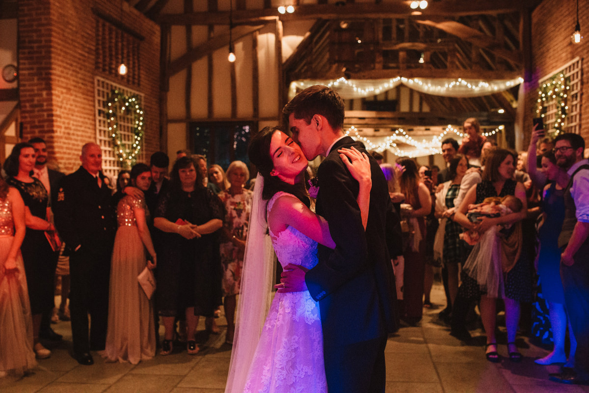first dance at HAUGHLEY PARK BARN WEDDING PHOTOGRAPHY